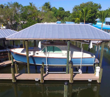 Boat House in a public marina constructed by Florida Marine Construction